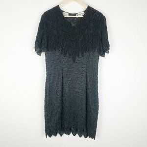 Vintage Silky Nites Black Silk Beaded dress